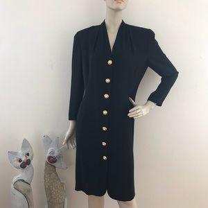 Vintage 90s Button Front Versatile Career Dress M